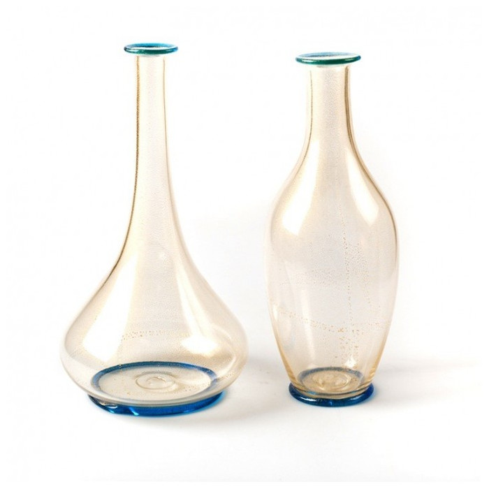 Murano clear glass gold vase set