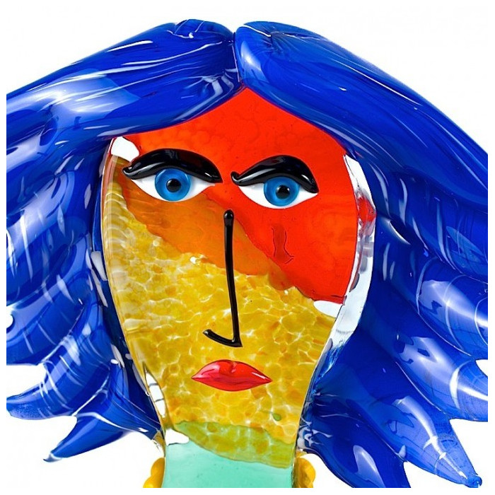 Scultura vetro Murano viso donna capelli blu