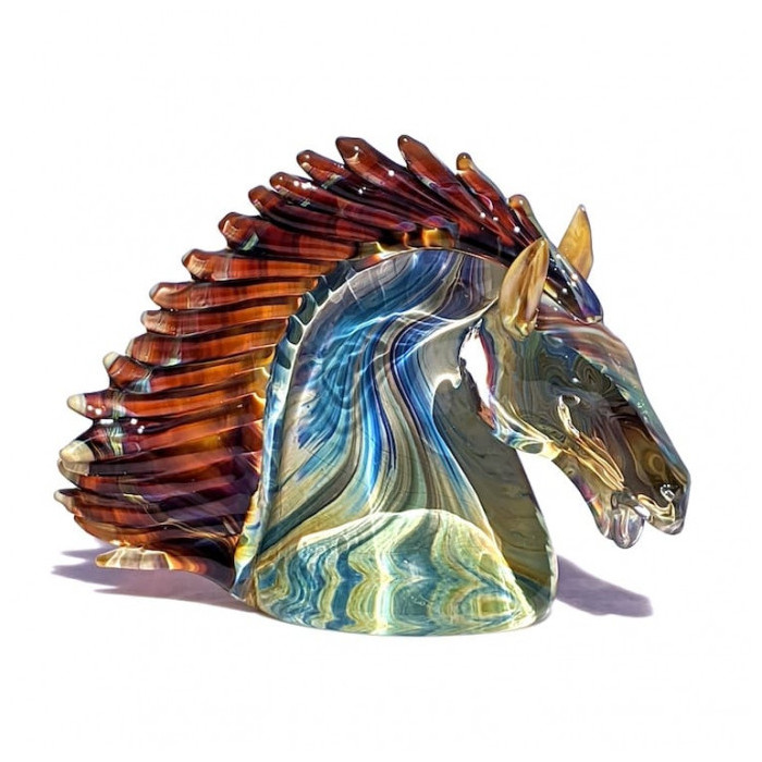 Murano multicolor glass horse sculpture