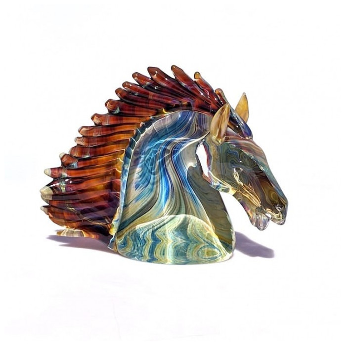 horse sculpture in multicolor chalcedony glass