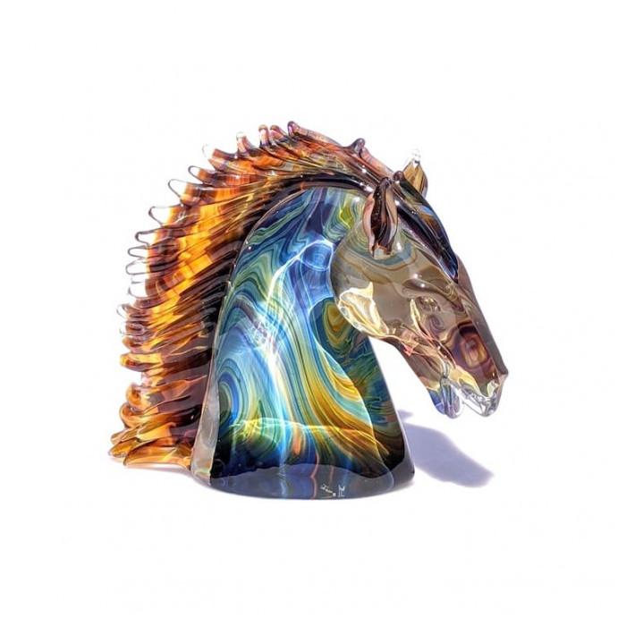 luxury decorative horse sculpture in blown glass