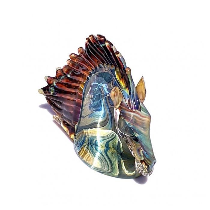 multicolor glass sculpture for interior design