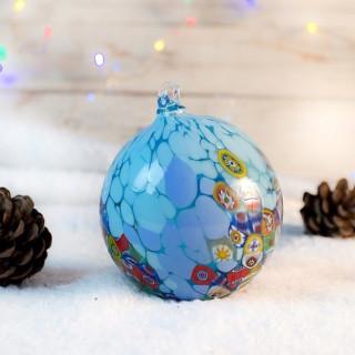 XMAS BALL 4TH blue detail Christmas ornament Christmas ball set of 3 Murano glass ornaments for Christmas Trademark of Origin -